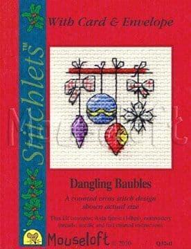 Mouseloft Dangling Baubles Card Christmas Stitchlets cross stitch kit